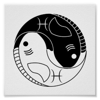 pisces yin yang fish astrology zodiac symbol poster