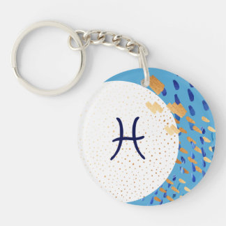 Pisces Zodiac Abstract Blue & Gold Moon Keychain