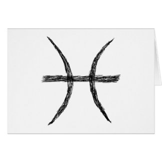 Pisces. Zodiac Astrology Sign. Black. Greeting Card