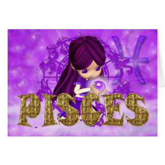 Pisces Zodiac Birthday card with cutie pie amethys