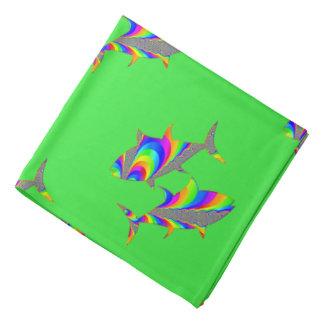 Pisces Zodiac Design Green Bandana