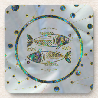 Pisces Zodiac Gold Abalone on Constellation Coaster