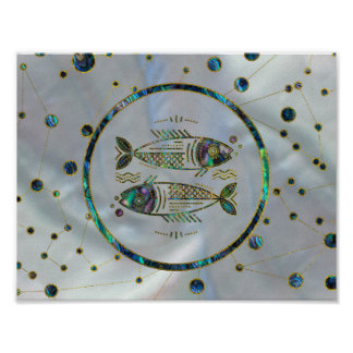 Pisces Zodiac Gold Abalone on Constellation Poster