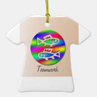 Pisces Zodiac Rainbow Fishing Team Birthday Ornament