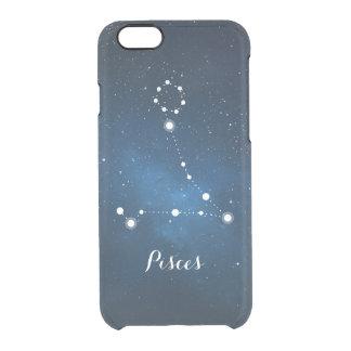 Pisces Zodiac Sign Blue Nebula Clear iPhone 6/6S Case
