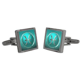 Pisces Zodiac Sign Gunmetal Finish Cuff Links
