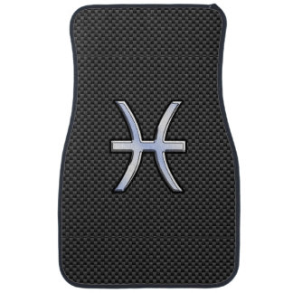 Pisces Zodiac Sign in Carbon Fiber Style Car Mat