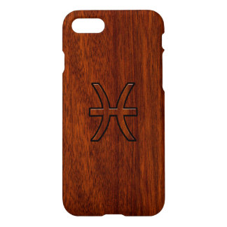Pisces Zodiac Sign in Mahogany wood grain style iPhone 7 Case