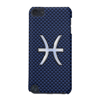 Pisces Zodiac Sign on Navy Blue Carbon Fiber Print iPod Touch 5G Cover