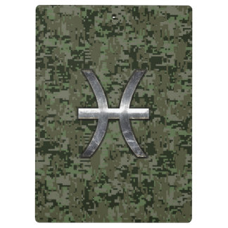Pisces Zodiac Sign on Woodland Digital Camouflage Clipboards