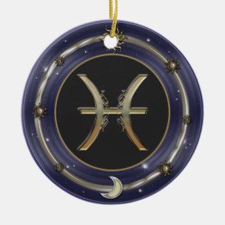 Pisces Zodiac Sign Round Ceramic Decoration
