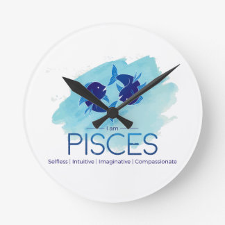 Pisces zodiac sign round clock