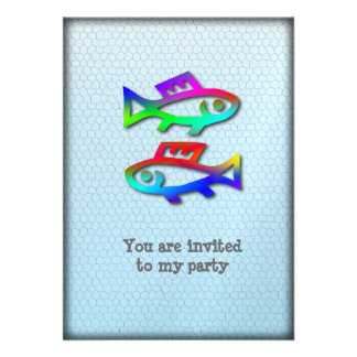 Pisces Zodiac Star Sign Rainbow Fish Party Event Custom Invite