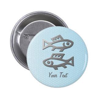 Pisces Zodiac Star Sign Silver Blue Badge Button