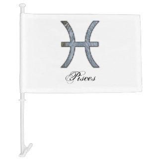 Pisces Zodiac Symbol Element Car Flag