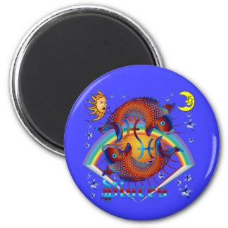 Pisces-Zodiac-V-1 6 Cm Round Magnet