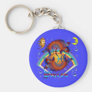 Pisces-Zodiac-V-1 Basic Round Button Key Ring
