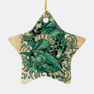 Pisces Zodiac Vintage Style (by Teeramizoo) Ceramic Star Decoration