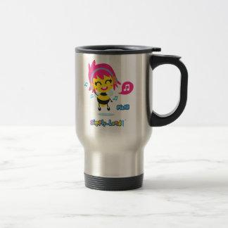 Pisitl listens to music travel mug
