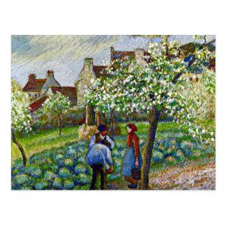 Pissarro - Flowering Plum Trees Postcard