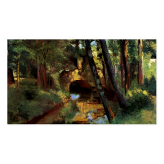 Pissarro painting small bridge Pontoise France art Double-Sided Standard Business Cards (Pack Of 100)
