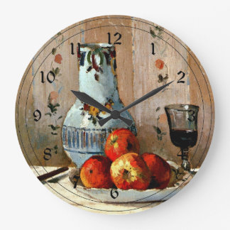 Pissarro - Still Life with Apples and Pitcher Large Clock