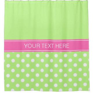 Pistachio Green LG Dot Hot Pink CB Name Monogram Shower Curtain