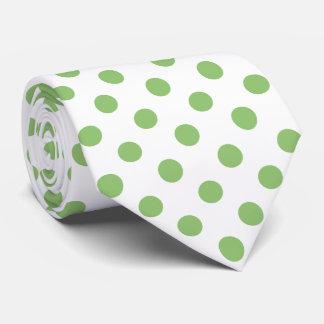 Pistachio Green Polka Dots Circles Tie