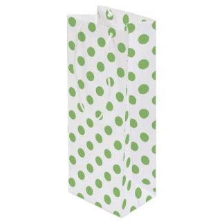 Pistachio Green Polka Dots Circles Wine Gift Bag