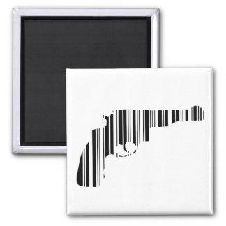 PISTOL BAR CODE Gun Barcode Pattern Design Square Magnet
