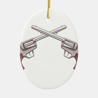 Pistol Handgun Drawing Isolated On White Backgroun Ceramic Ornament