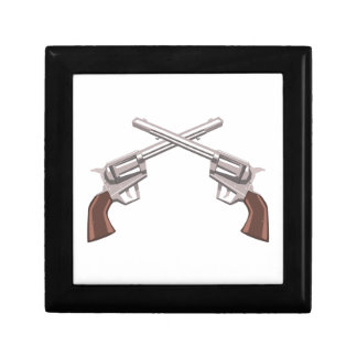 Pistol Handgun Drawing Isolated On White Backgroun Gift Box