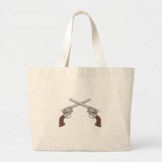Pistol Handgun Drawing Isolated On White Backgroun Large Tote Bag