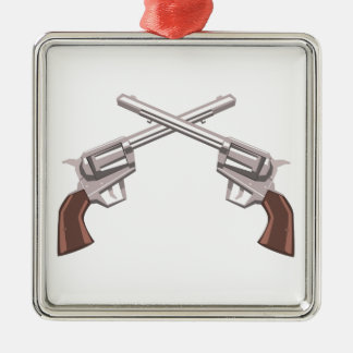 Pistol Handgun Drawing Isolated On White Backgroun Metal Ornament
