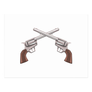 Pistol Handgun Drawing Isolated On White Backgroun Postcard