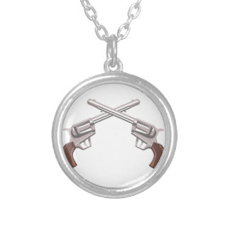 Pistol Handgun Drawing Isolated On White Backgroun Silver Plated Necklace