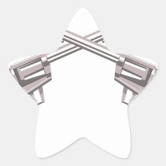 Pistol Handgun Drawing Isolated On White Backgroun Star Sticker