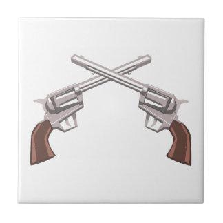 Pistol Handgun Drawing Isolated On White Backgroun Tile