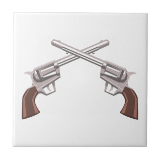 Pistol Handgun Drawing Isolated On White Backgroun Tile