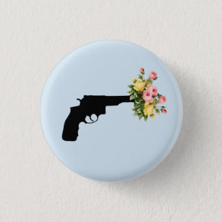 Pistol of flowers Plate 3 Cm Round Badge