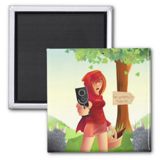 Pistol Packing Riding Hood Square Magnet