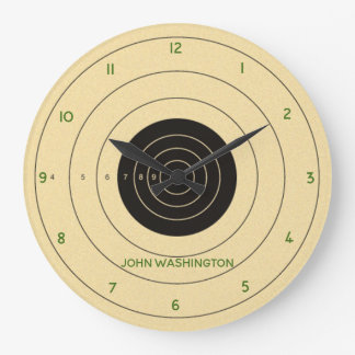 Pistol Target Personalized Wall Clock