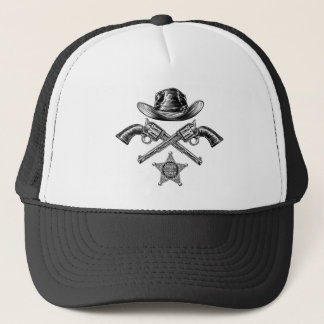 Pistols and Cowboy Hat with Sheriff Star Badge