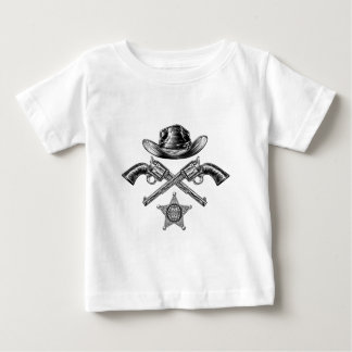 Pistols and Cowboy Hat with Sheriff Star Badge Baby T-Shirt