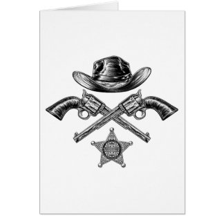 Pistols and Cowboy Hat with Sheriff Star Badge Card