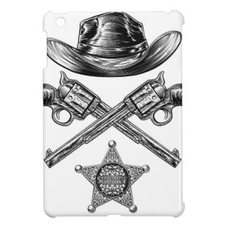 Pistols and Cowboy Hat with Sheriff Star Badge iPad Mini Covers