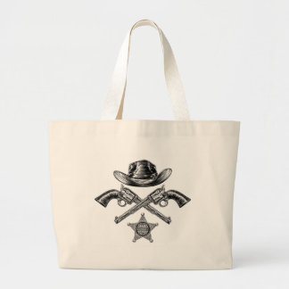 Pistols and Cowboy Hat with Sheriff Star Badge Large Tote Bag