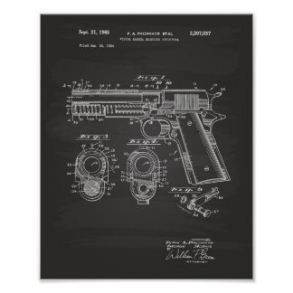 Pistols Structure 1965 Patent Art Chalkboard Poster