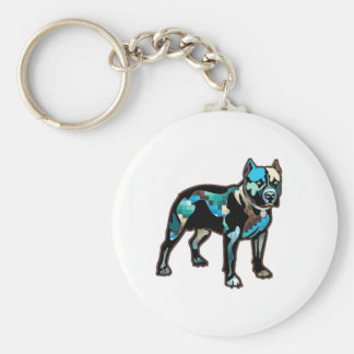 Pit Bull Abstract Design Pet Dog Add Name Text Basic Round Button Key Ring