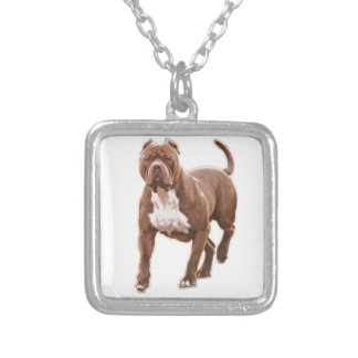 Pit bull brown silver plated necklace
